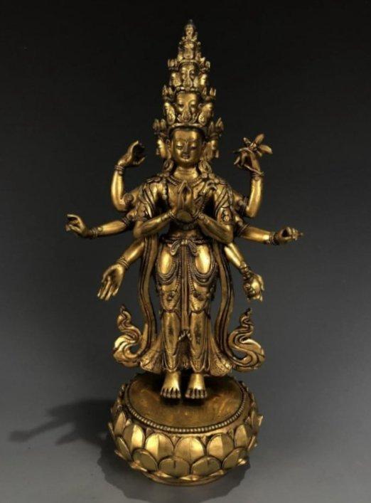 Gilt Bronze Figure of EKADASAMUKHA AVALOKITESVARA