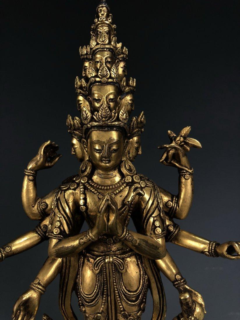 Gilt Bronze Figure of EKADASAMUKHA AVALOKITESVARA - 3