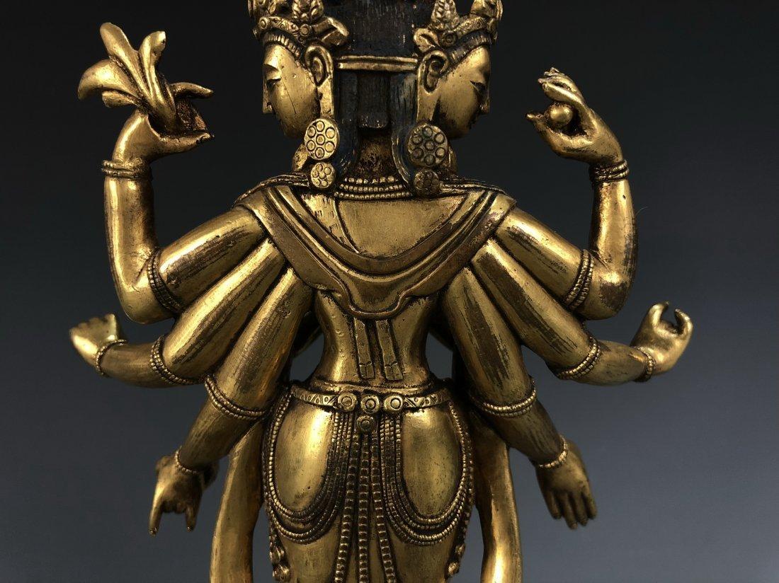 Gilt Bronze Figure of EKADASAMUKHA AVALOKITESVARA - 4