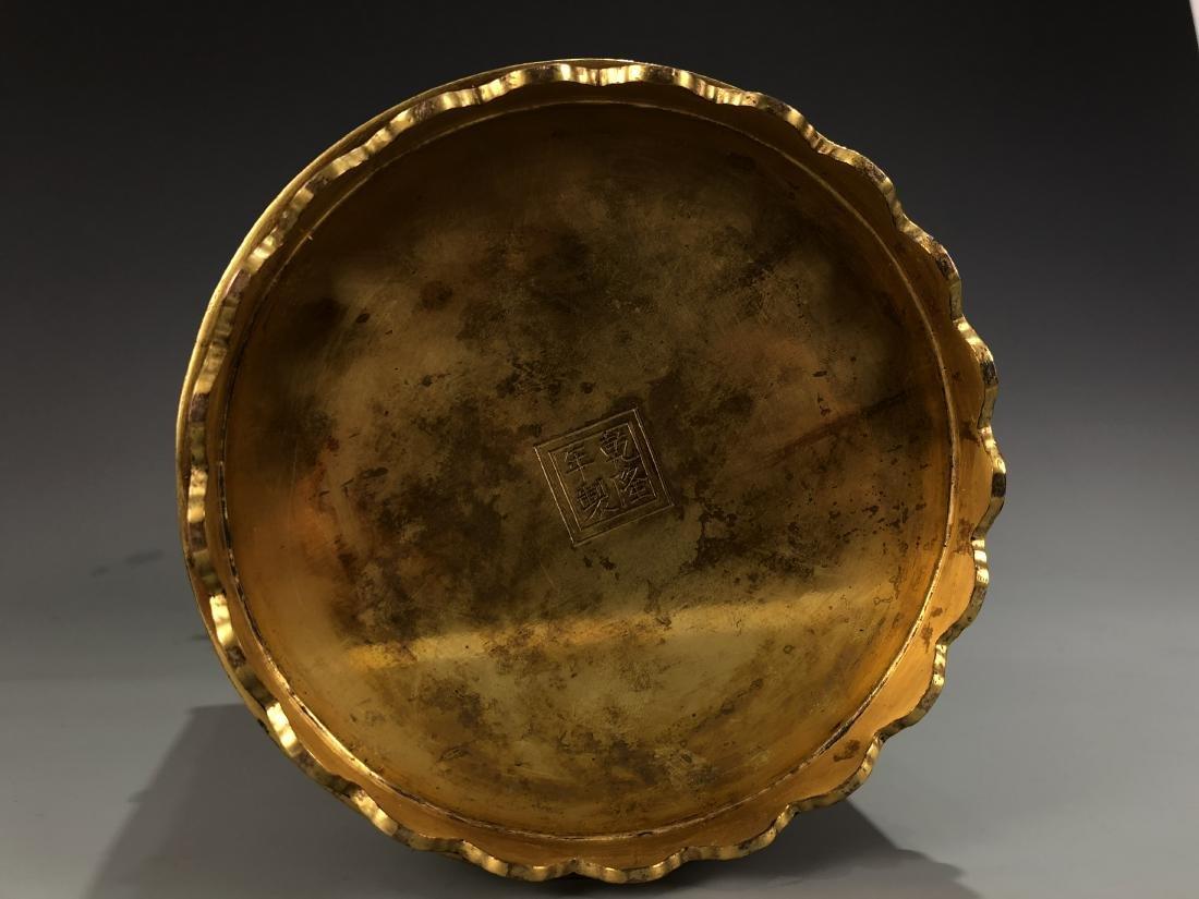 Cloisonne Enamel Gilt Bronze Lingzhi Flowerpot W/ Mark - 10