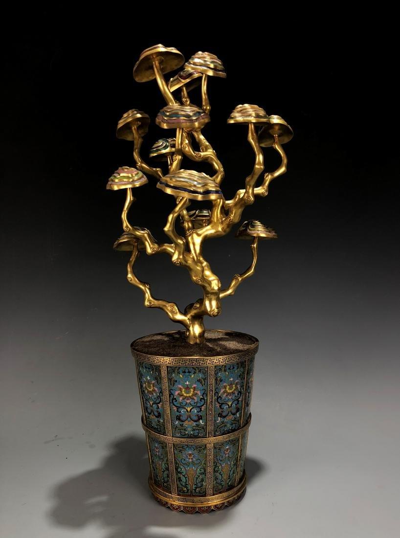 Cloisonne Enamel Gilt Bronze Lingzhi Flowerpot W/ Mark - 2