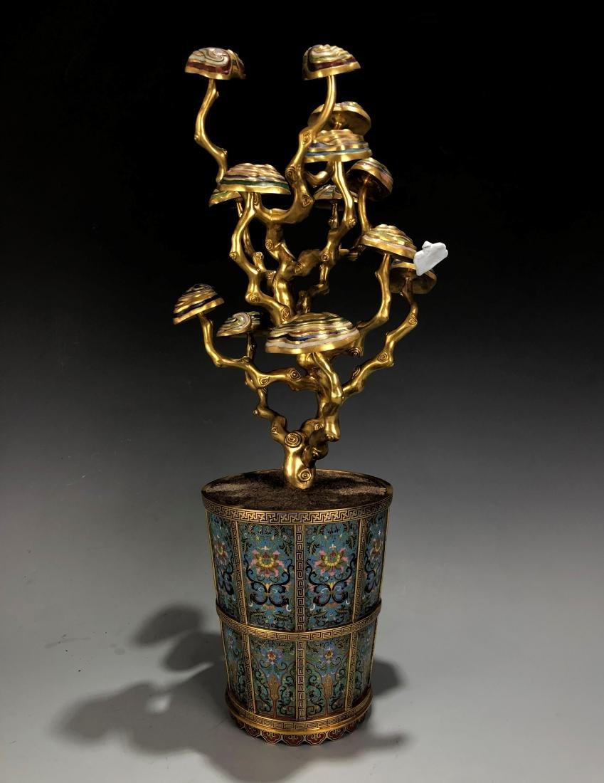 Cloisonne Enamel Gilt Bronze Lingzhi Flowerpot W/ Mark - 3