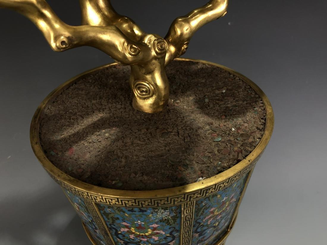 Cloisonne Enamel Gilt Bronze Lingzhi Flowerpot W/ Mark - 4