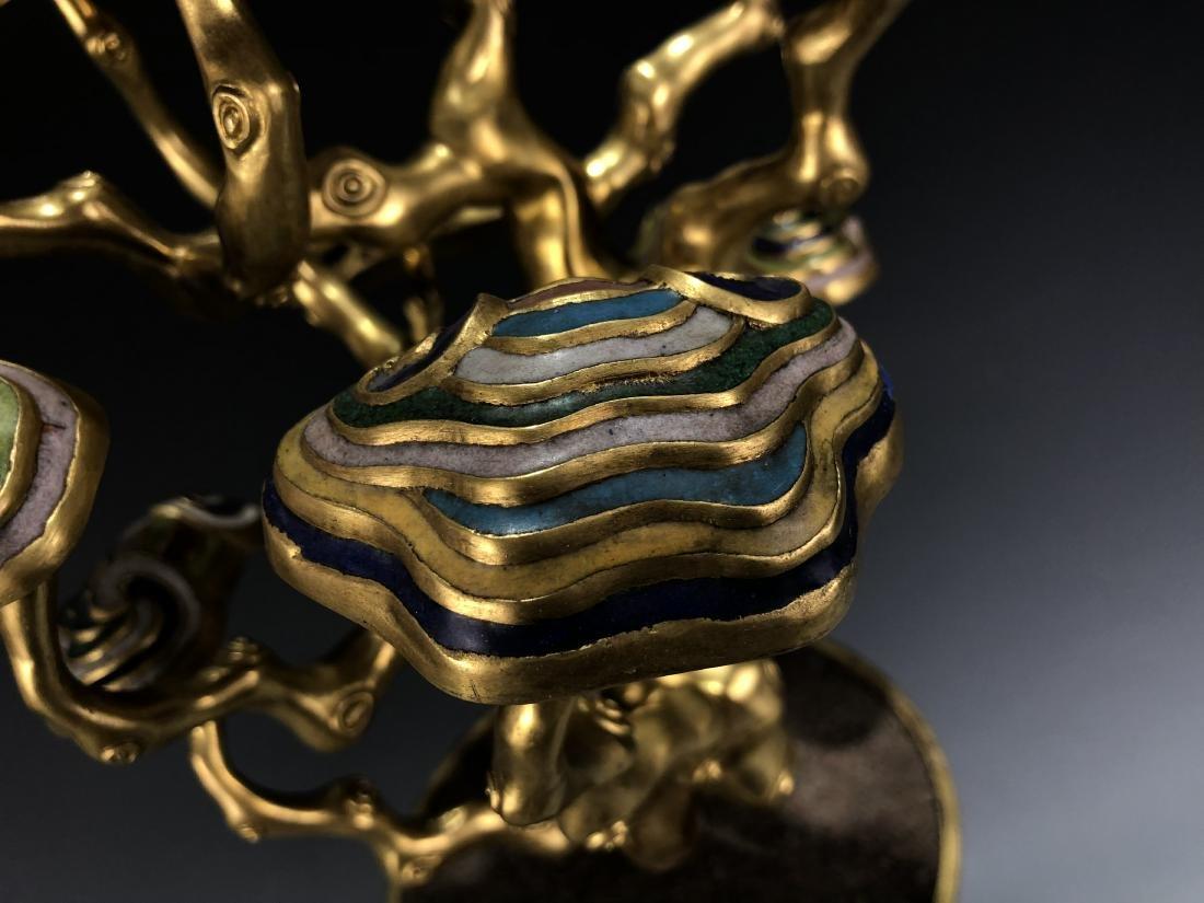 Cloisonne Enamel Gilt Bronze Lingzhi Flowerpot W/ Mark - 5