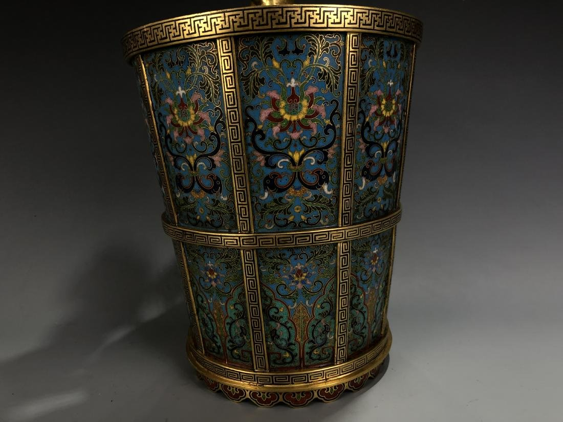 Cloisonne Enamel Gilt Bronze Lingzhi Flowerpot W/ Mark - 6