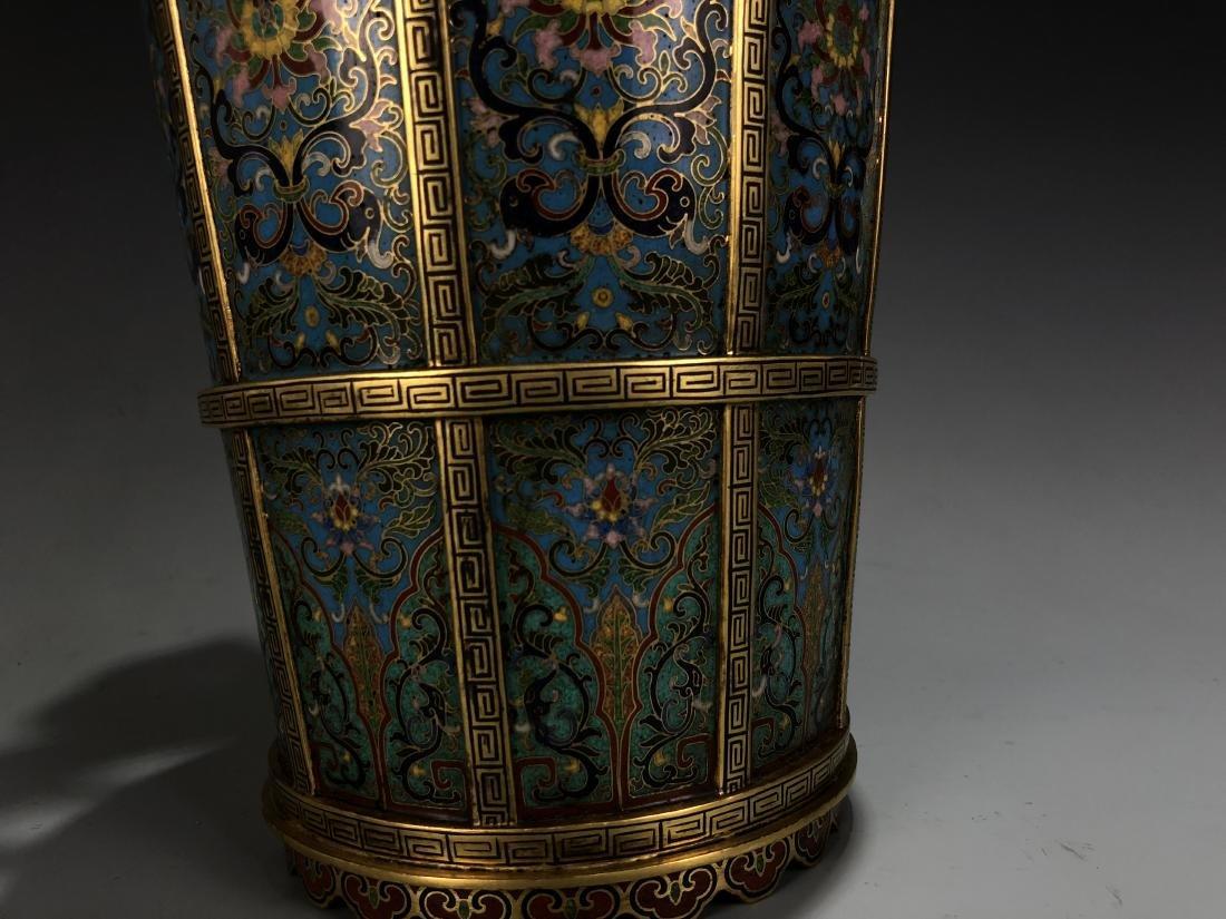 Cloisonne Enamel Gilt Bronze Lingzhi Flowerpot W/ Mark - 7