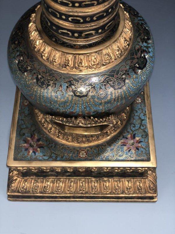 Chinese Cloisonne Enameled Bronze Buddhist Stupa - 12