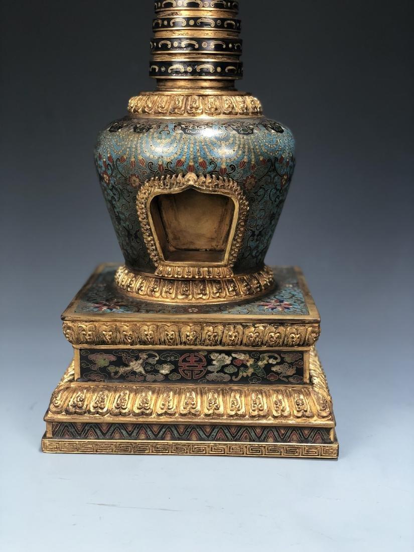 Chinese Cloisonne Enameled Bronze Buddhist Stupa - 13