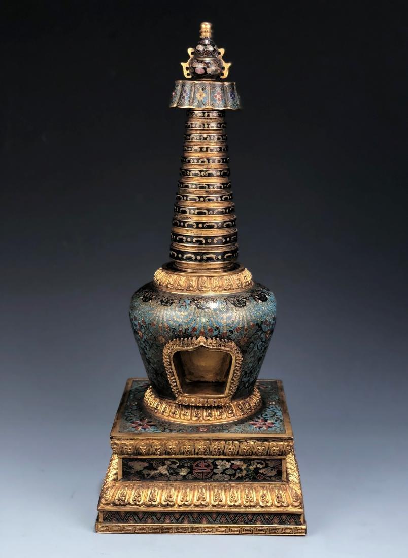 Chinese Cloisonne Enameled Bronze Buddhist Stupa
