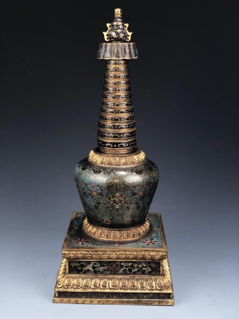 Chinese Cloisonne Enameled Bronze Buddhist Stupa - 2