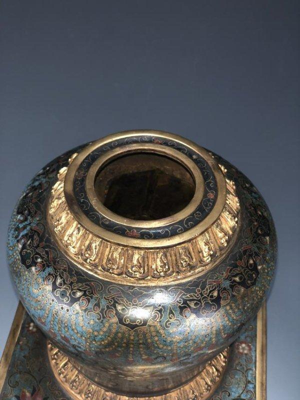 Chinese Cloisonne Enameled Bronze Buddhist Stupa - 3
