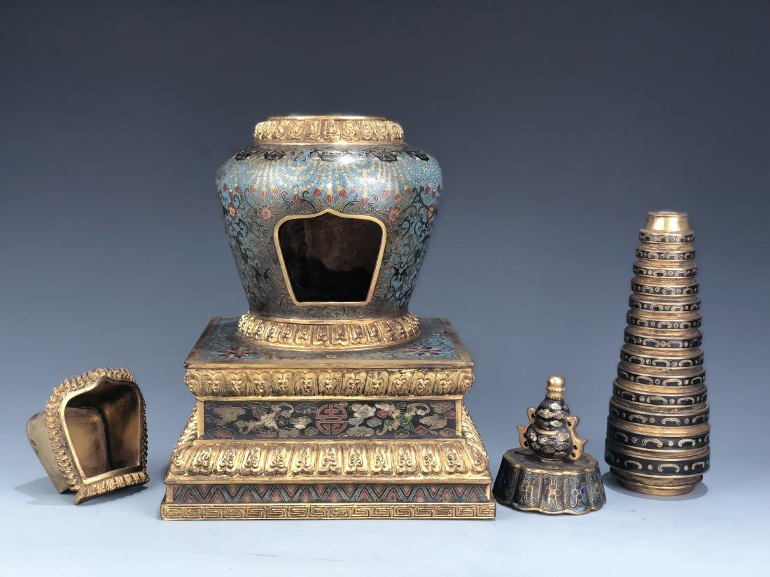 Chinese Cloisonne Enameled Bronze Buddhist Stupa - 4