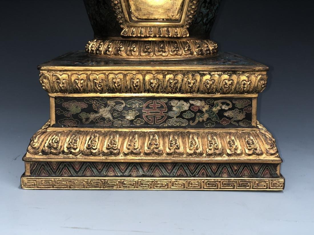 Chinese Cloisonne Enameled Bronze Buddhist Stupa - 5