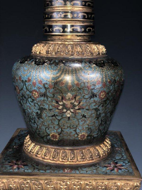 Chinese Cloisonne Enameled Bronze Buddhist Stupa - 7