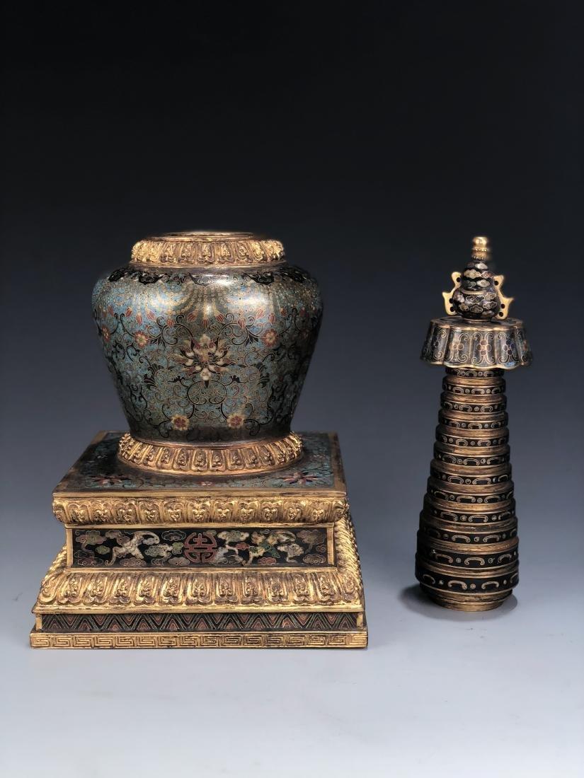 Chinese Cloisonne Enameled Bronze Buddhist Stupa - 8