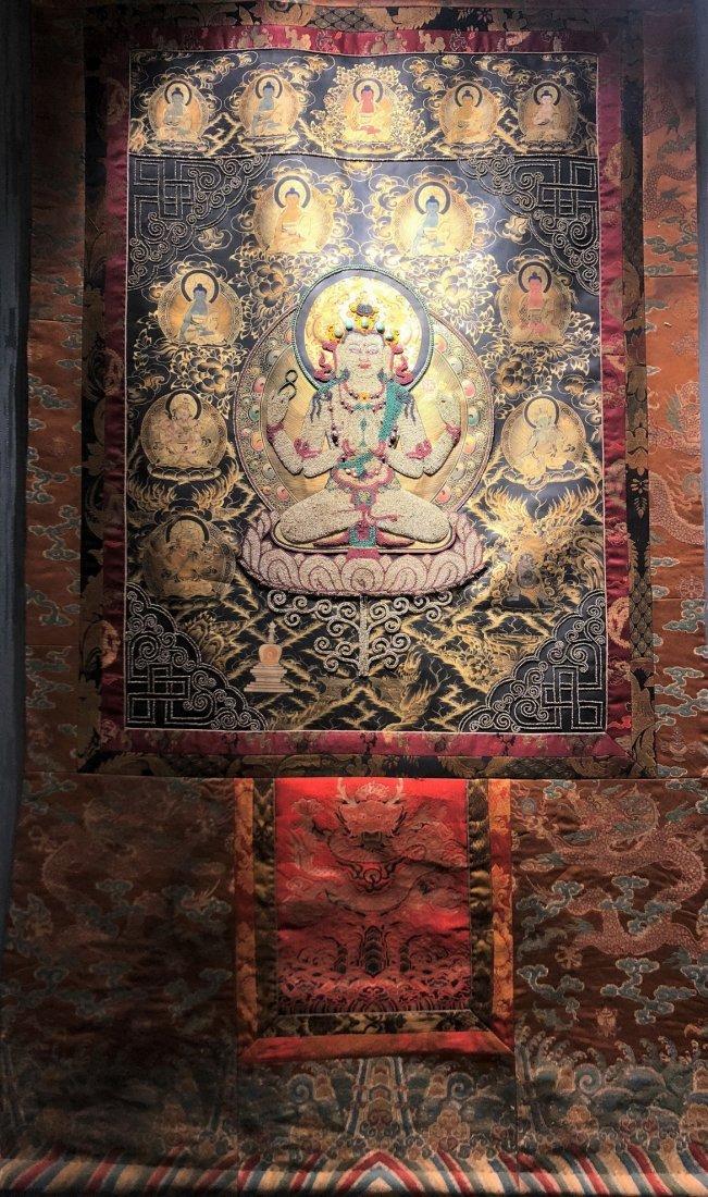 Silk Tibetan Thangka with Inlay multi colored stone