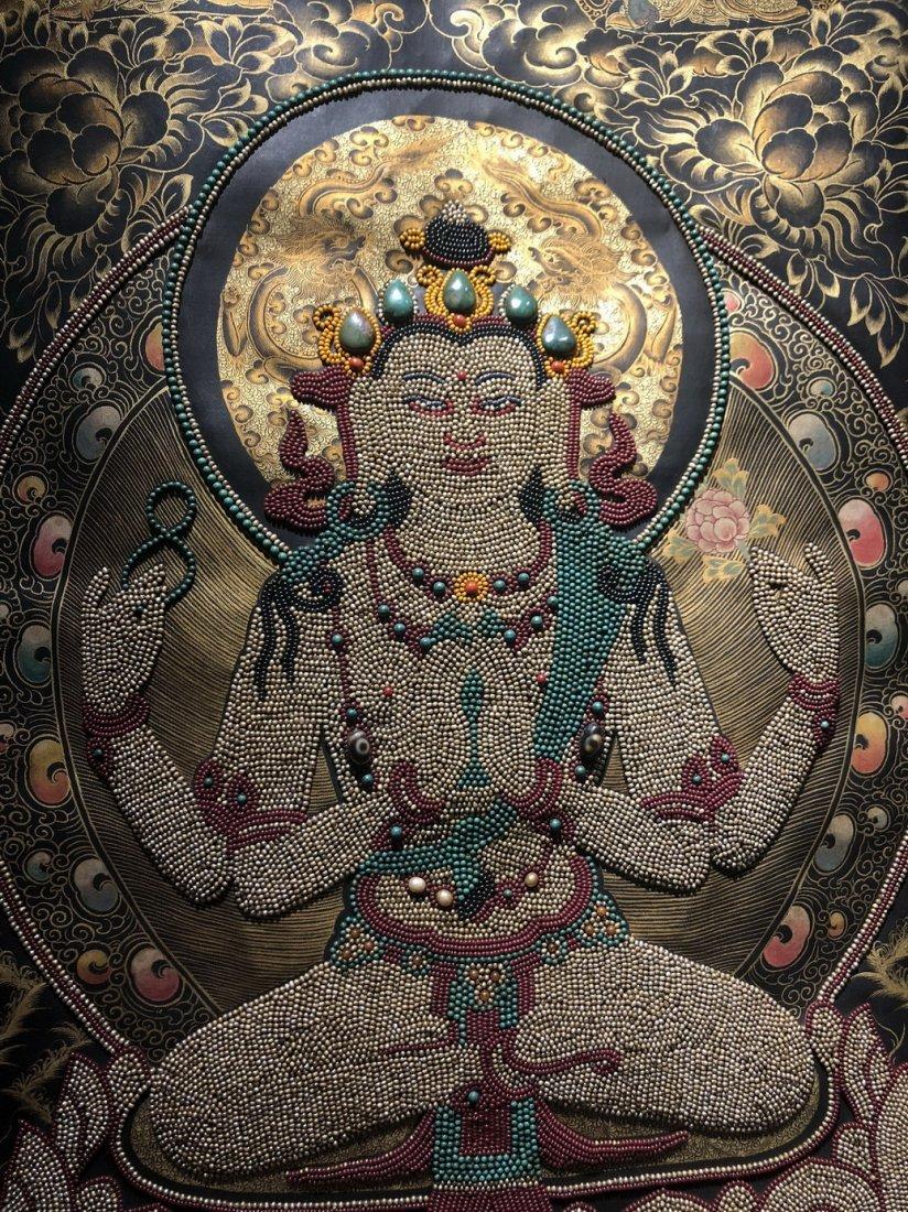 Silk Tibetan Thangka with Inlay multi colored stone - 2