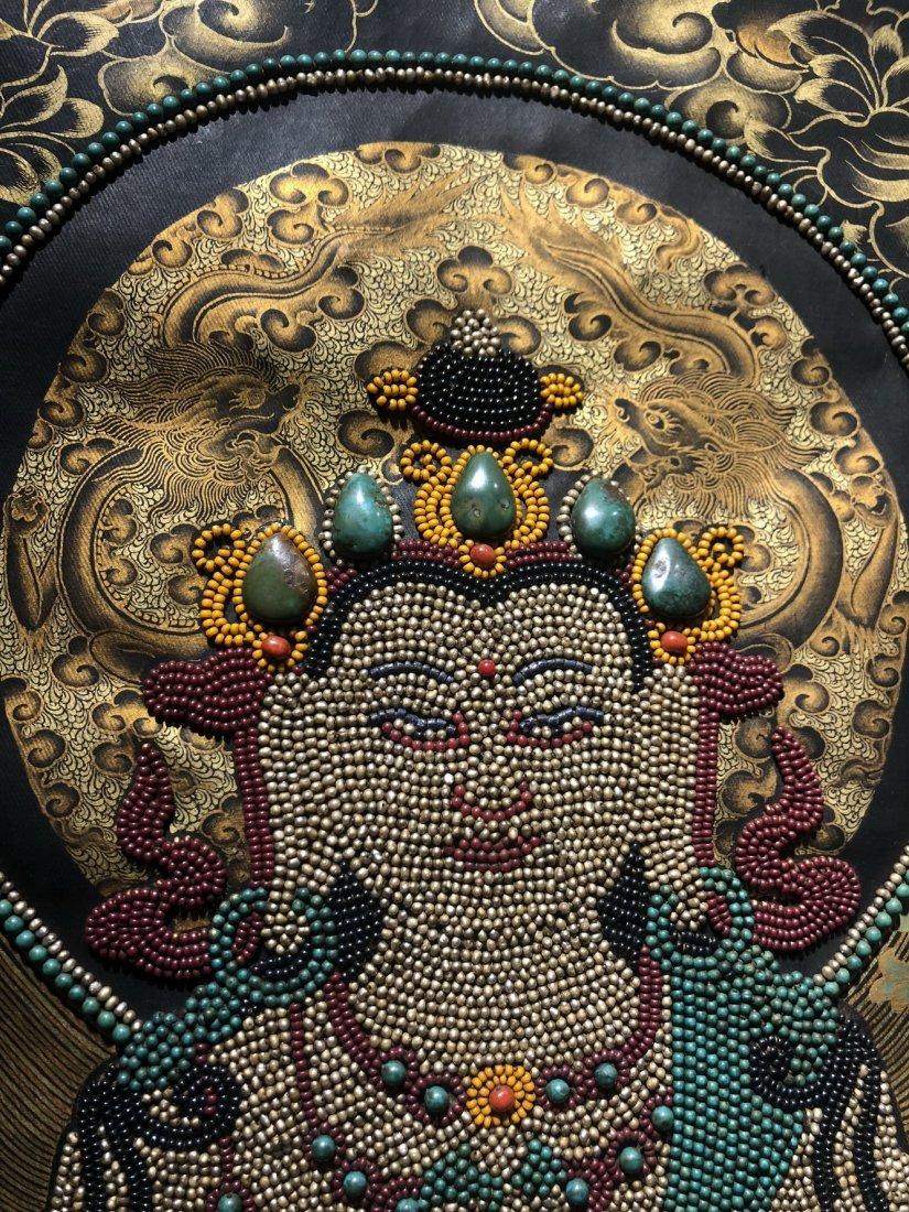 Silk Tibetan Thangka with Inlay multi colored stone - 3