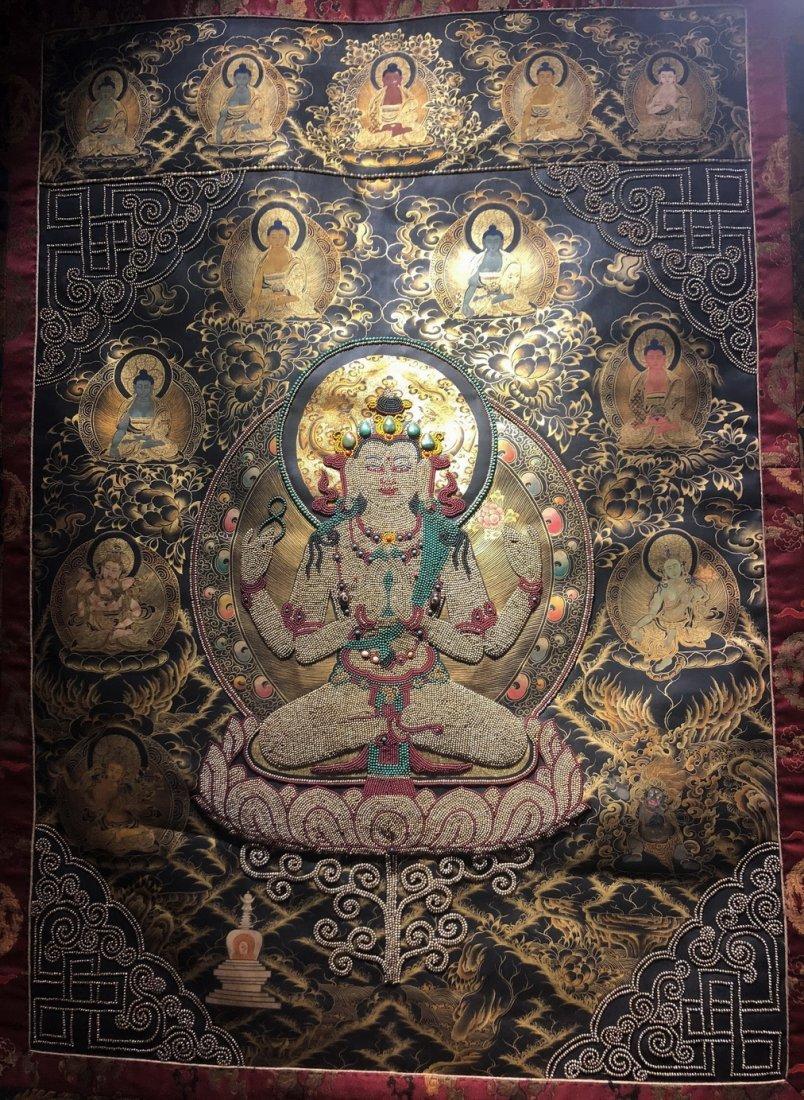 Silk Tibetan Thangka with Inlay multi colored stone - 4