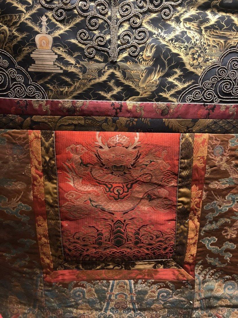 Silk Tibetan Thangka with Inlay multi colored stone - 5