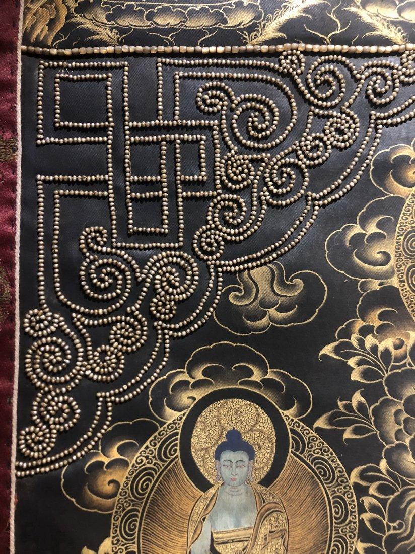 Silk Tibetan Thangka with Inlay multi colored stone - 6