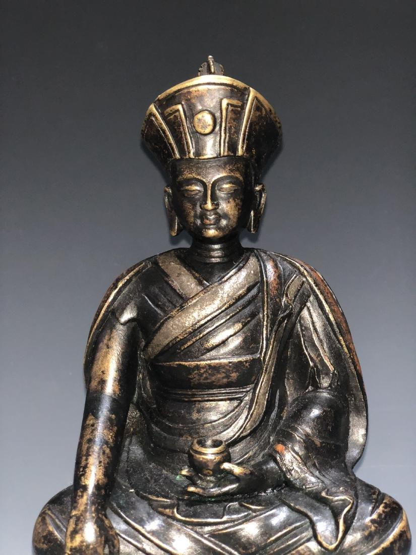 A Rare Silver-Inlaid Copper Alloy Figure of Guru - 2