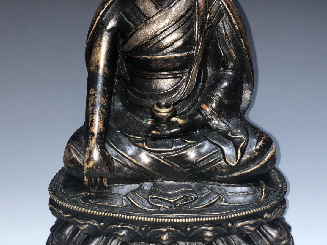 A Rare Silver-Inlaid Copper Alloy Figure of Guru - 3