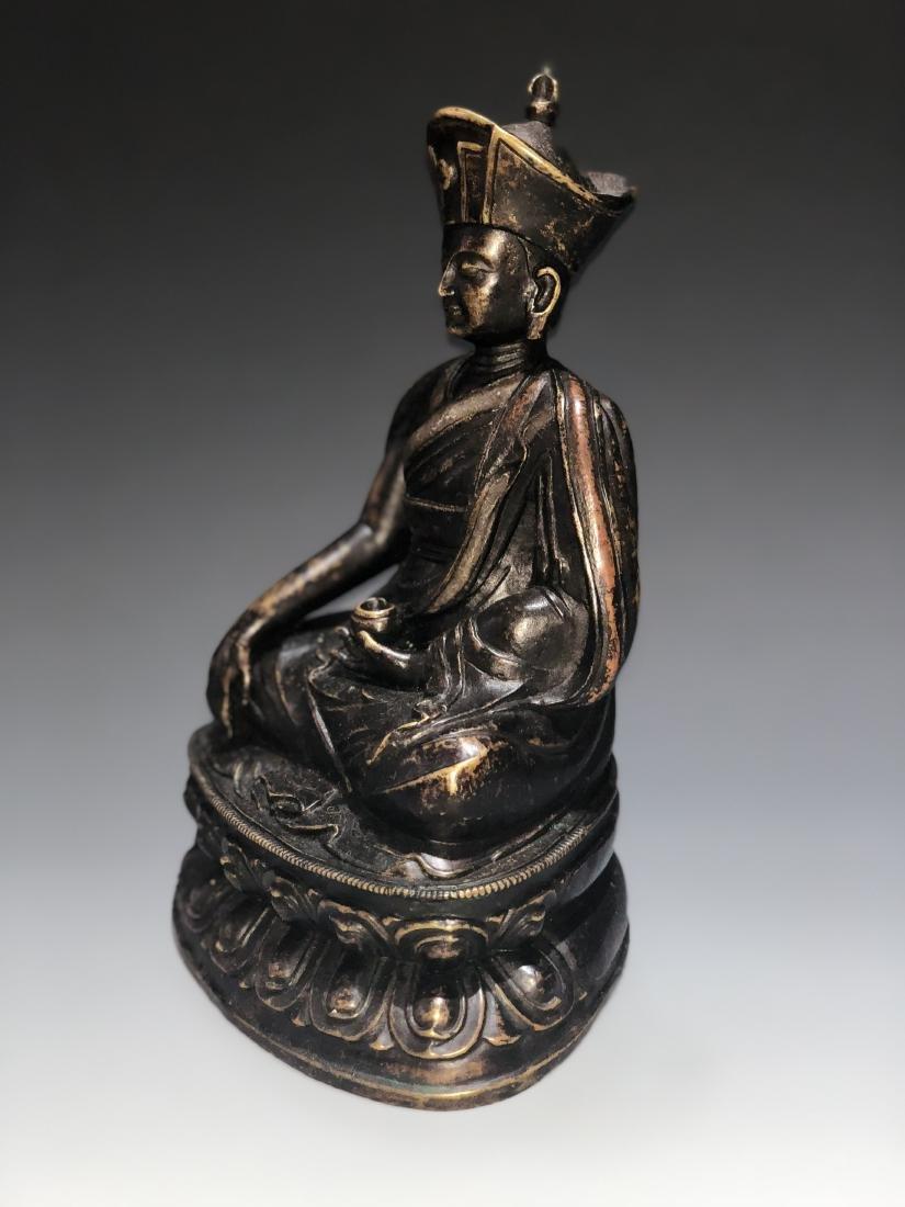 A Rare Silver-Inlaid Copper Alloy Figure of Guru - 4