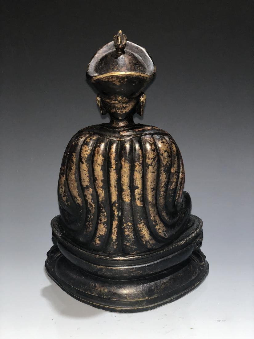 A Rare Silver-Inlaid Copper Alloy Figure of Guru - 5
