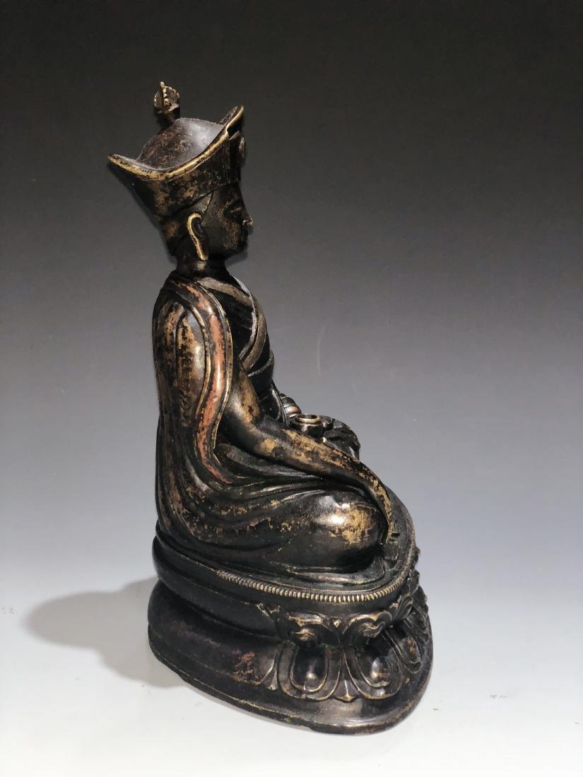 A Rare Silver-Inlaid Copper Alloy Figure of Guru - 6