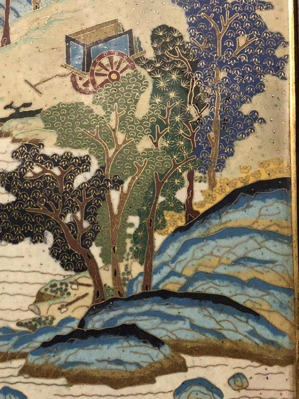 Cloisonne Enamel Landscape Hanging Screen - 4