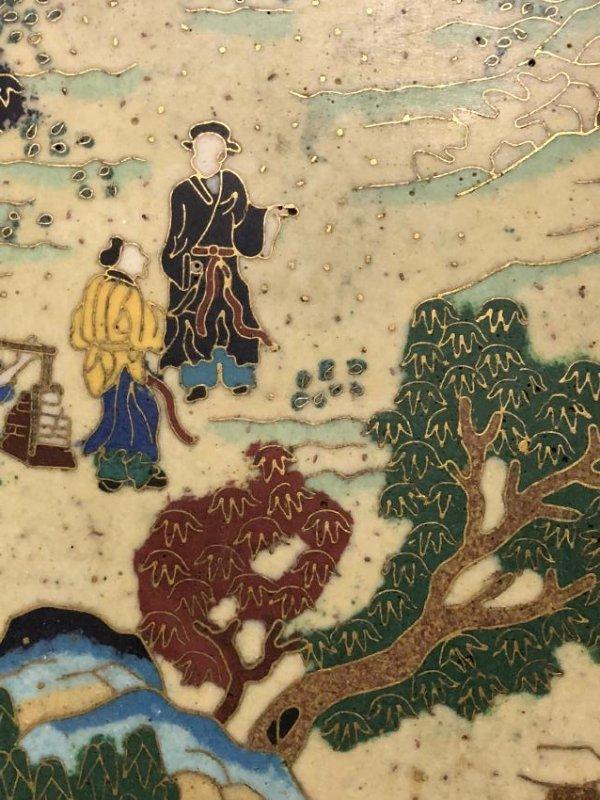Cloisonne Enamel Landscape Hanging Screen - 5