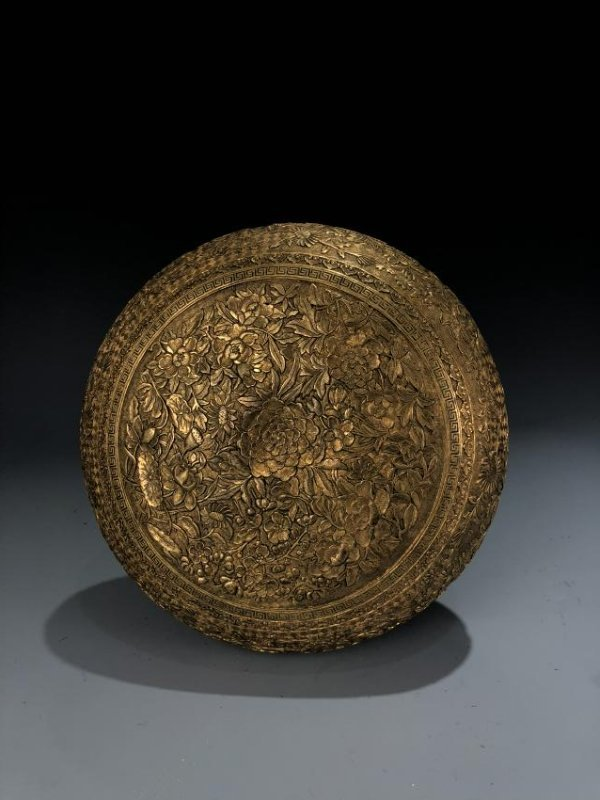 Finely Detailed Gilt Bronze Circular Box