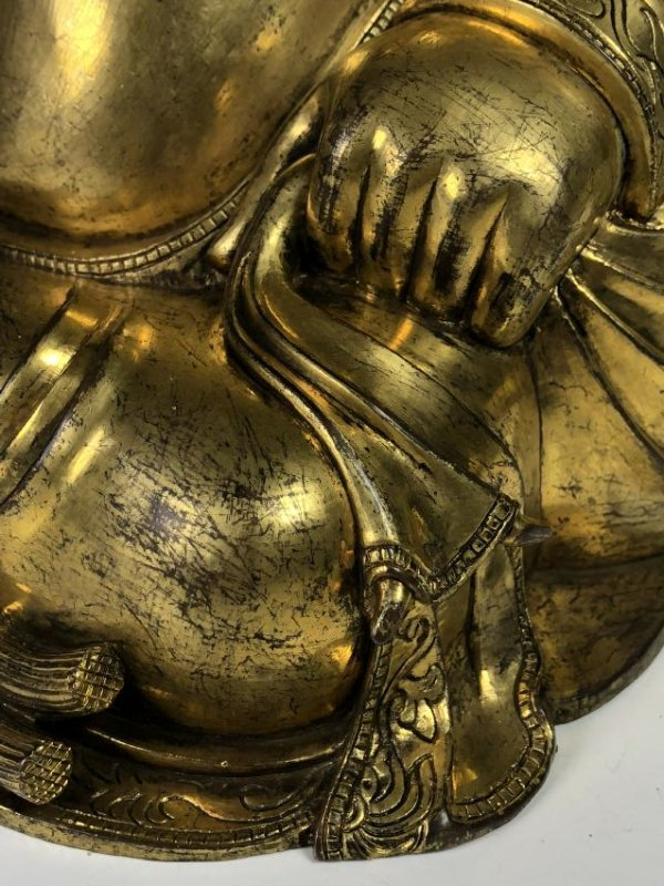 Large Gilt Bronze Figure of Buddha - 10
