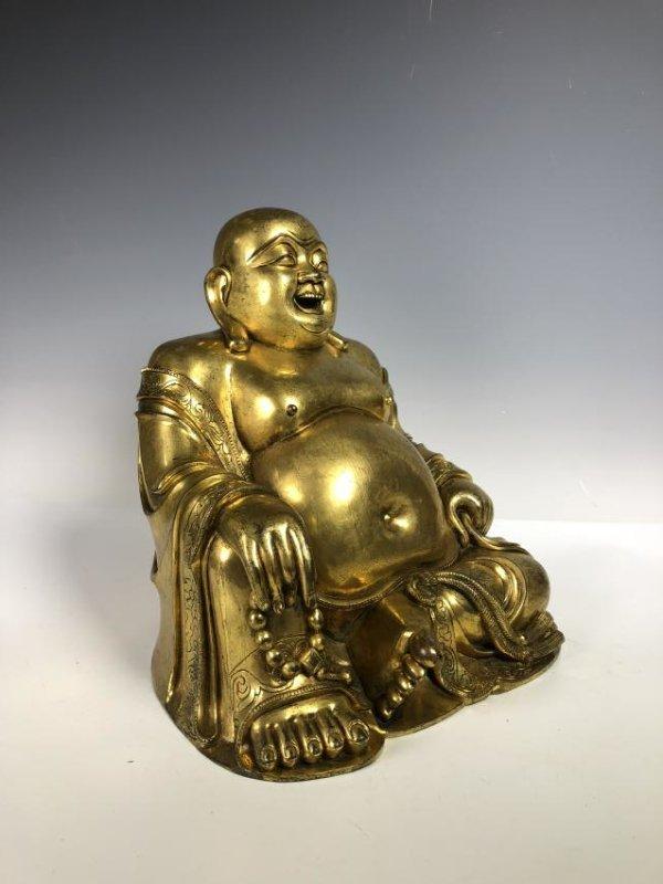 Large Gilt Bronze Figure of Buddha - 2