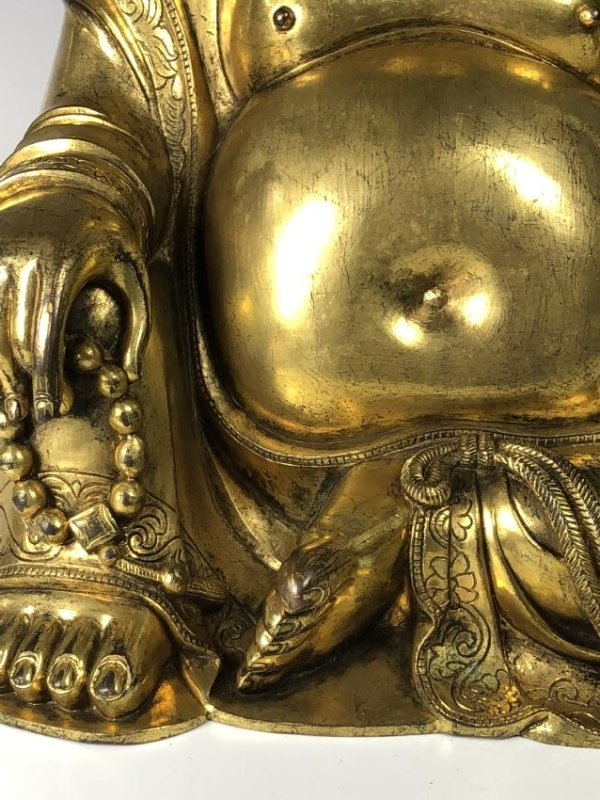 Large Gilt Bronze Figure of Buddha - 7