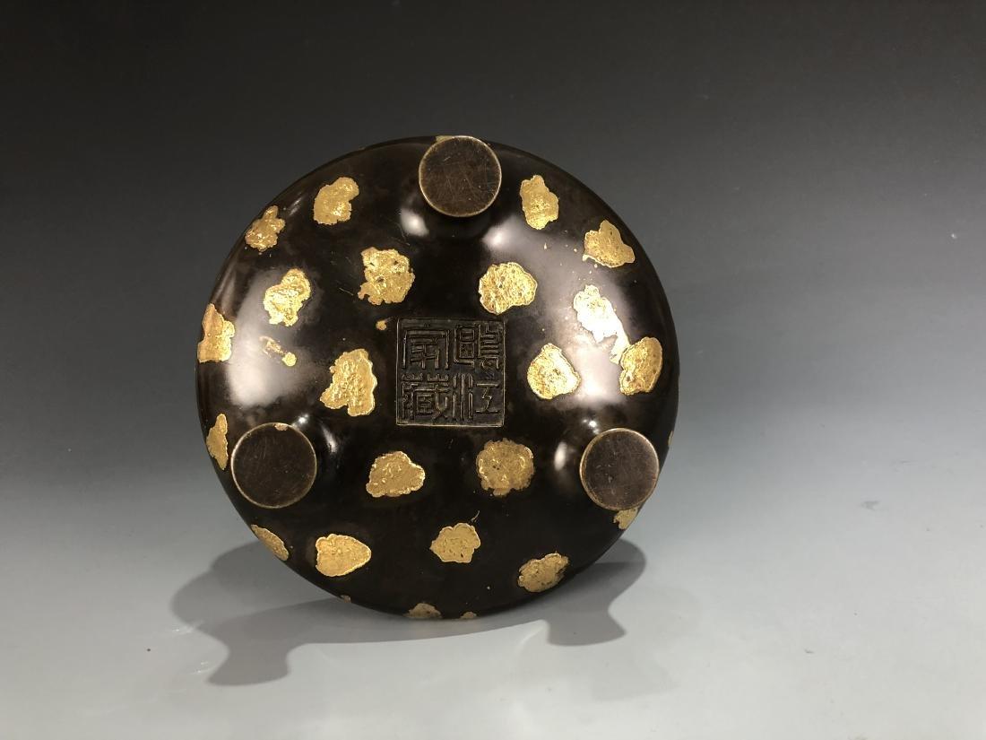 Gold Splash Bronze Tripod Incense Burner - 4