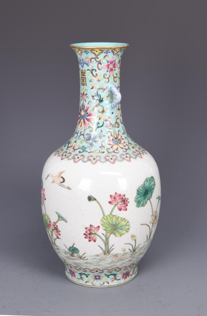 Famille Rose Porcelain  Vase with Mark - 6