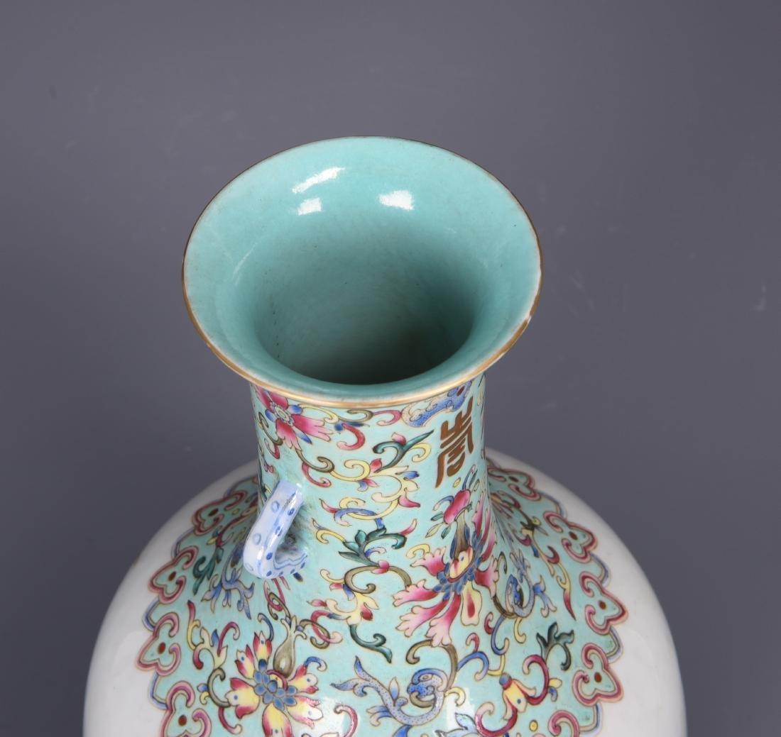Famille Rose Porcelain  Vase with Mark - 7