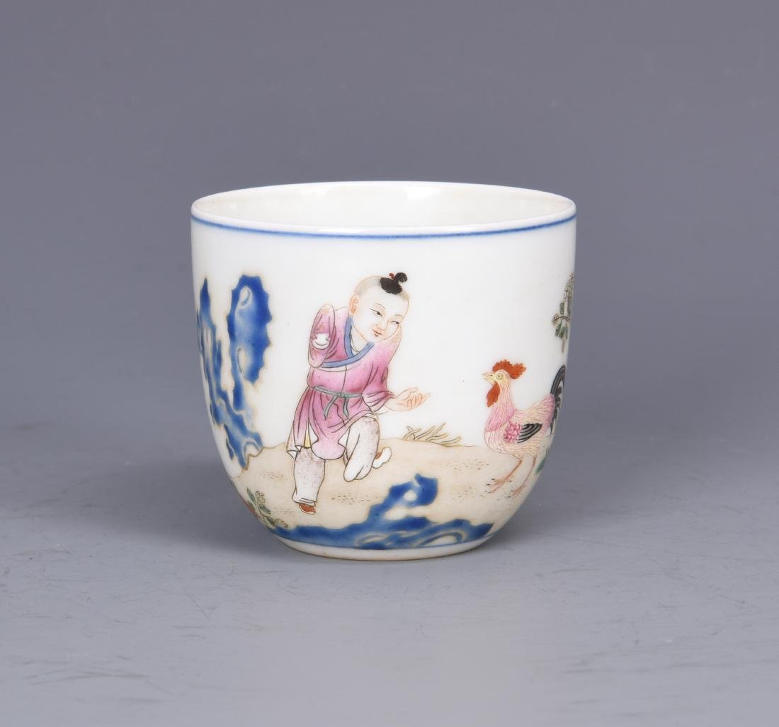 Porcelain Chicken Cup with Mark - 2