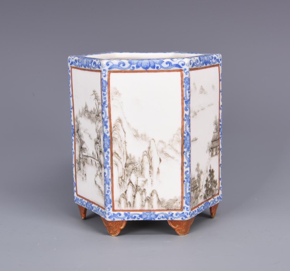 Blue and White Porcelain Brush Pot