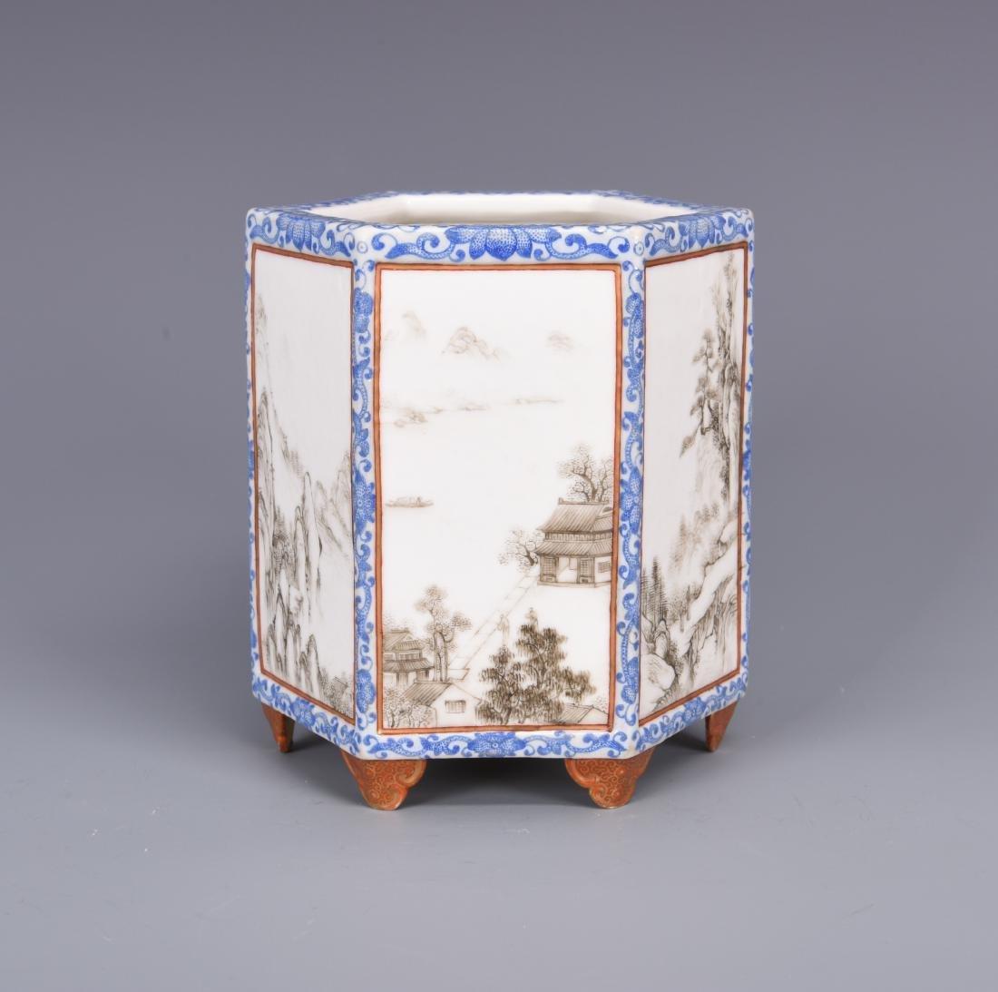 Blue and White Porcelain Brush Pot - 2