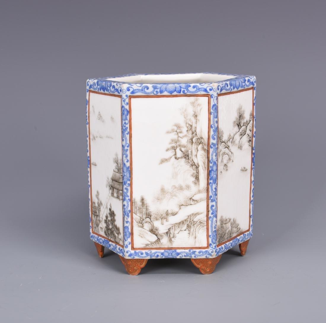Blue and White Porcelain Brush Pot - 3
