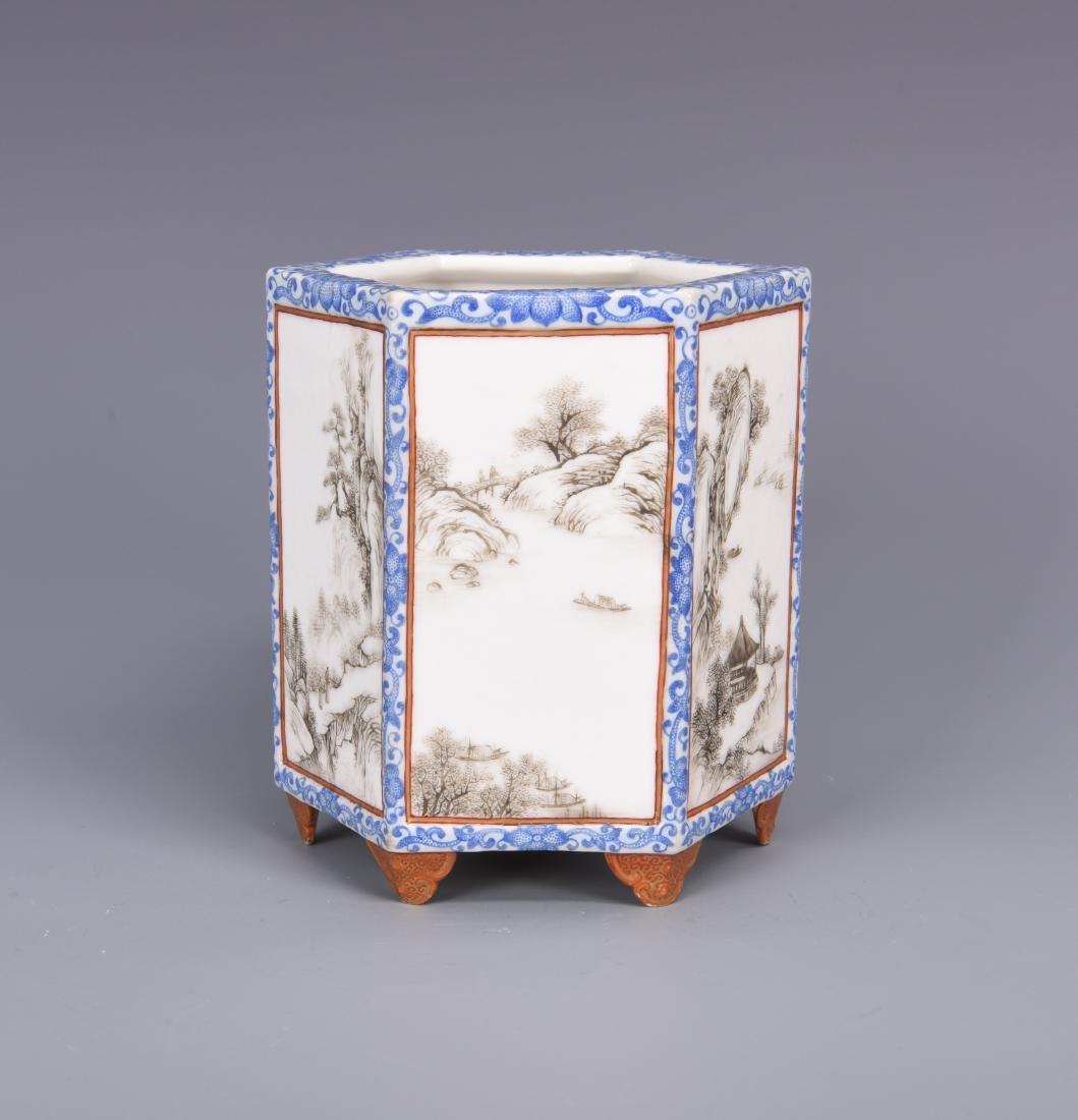 Blue and White Porcelain Brush Pot - 4