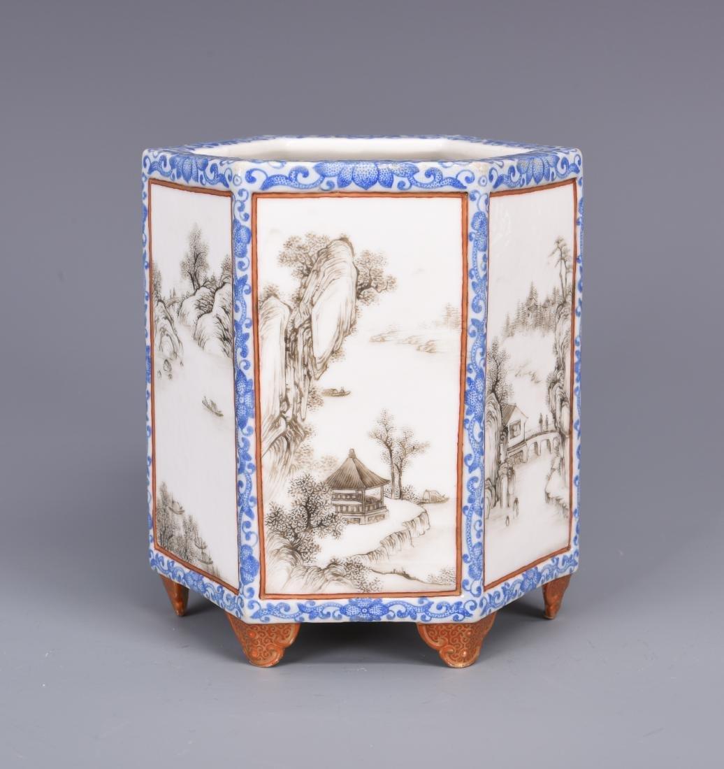 Blue and White Porcelain Brush Pot - 5