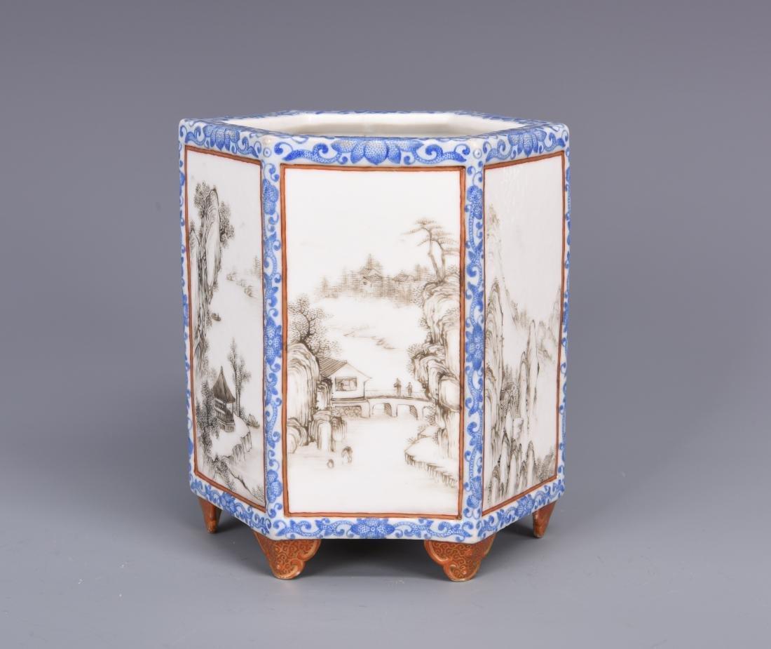Blue and White Porcelain Brush Pot - 6