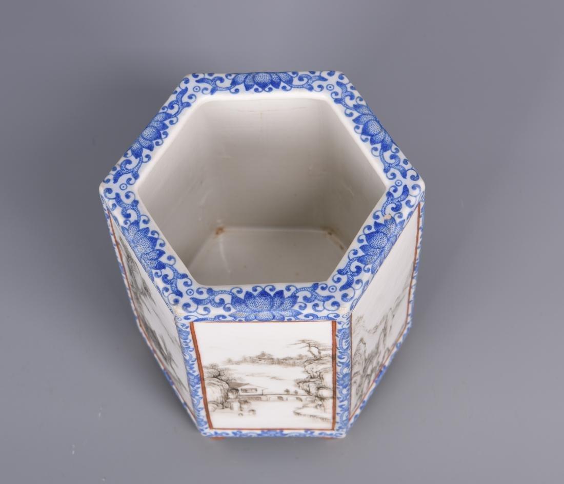 Blue and White Porcelain Brush Pot - 7