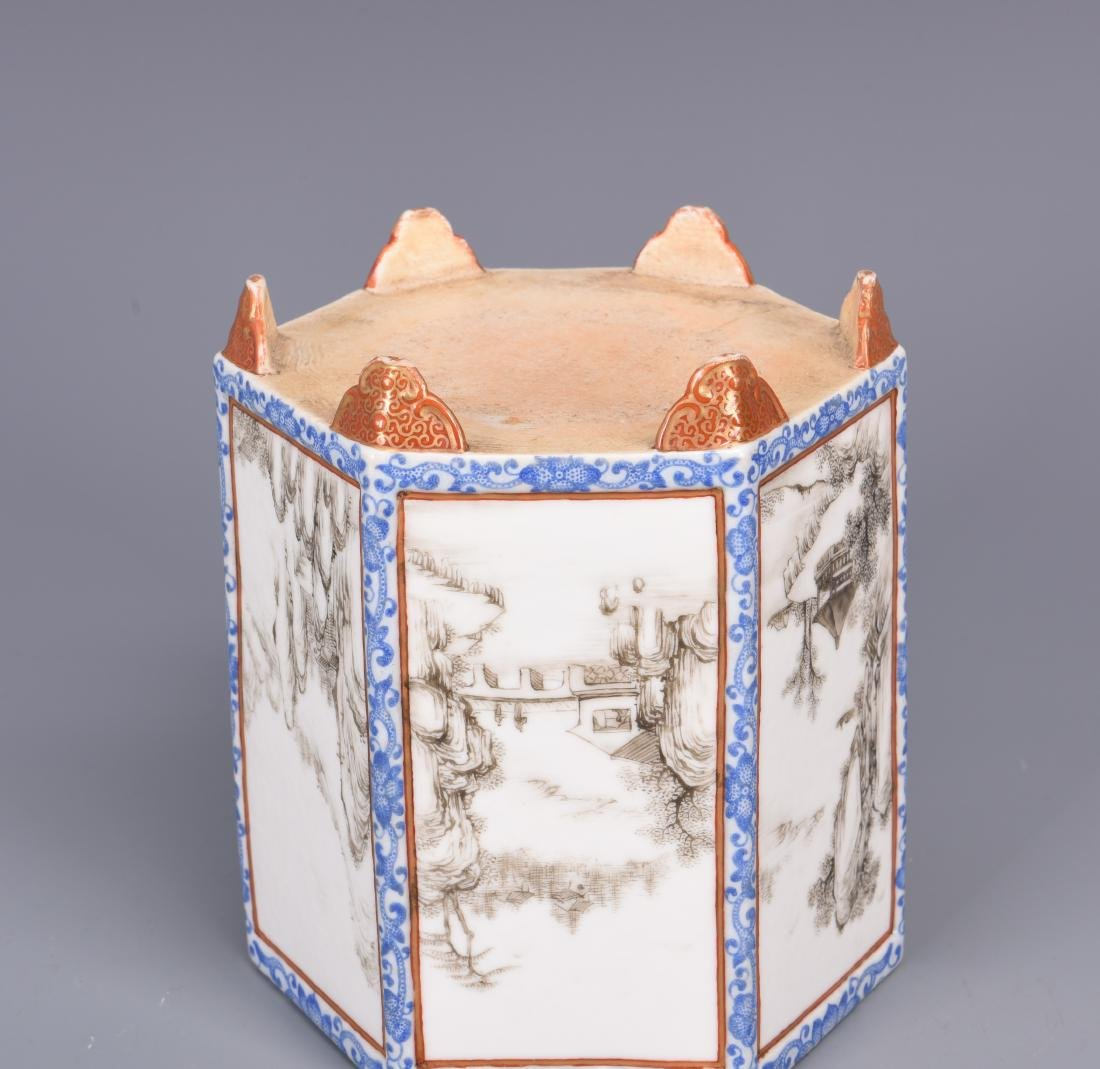 Blue and White Porcelain Brush Pot - 8