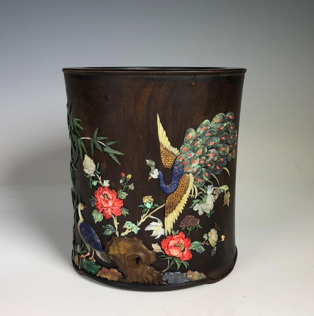 Hard Wood Brush Pot with Stone Inlay