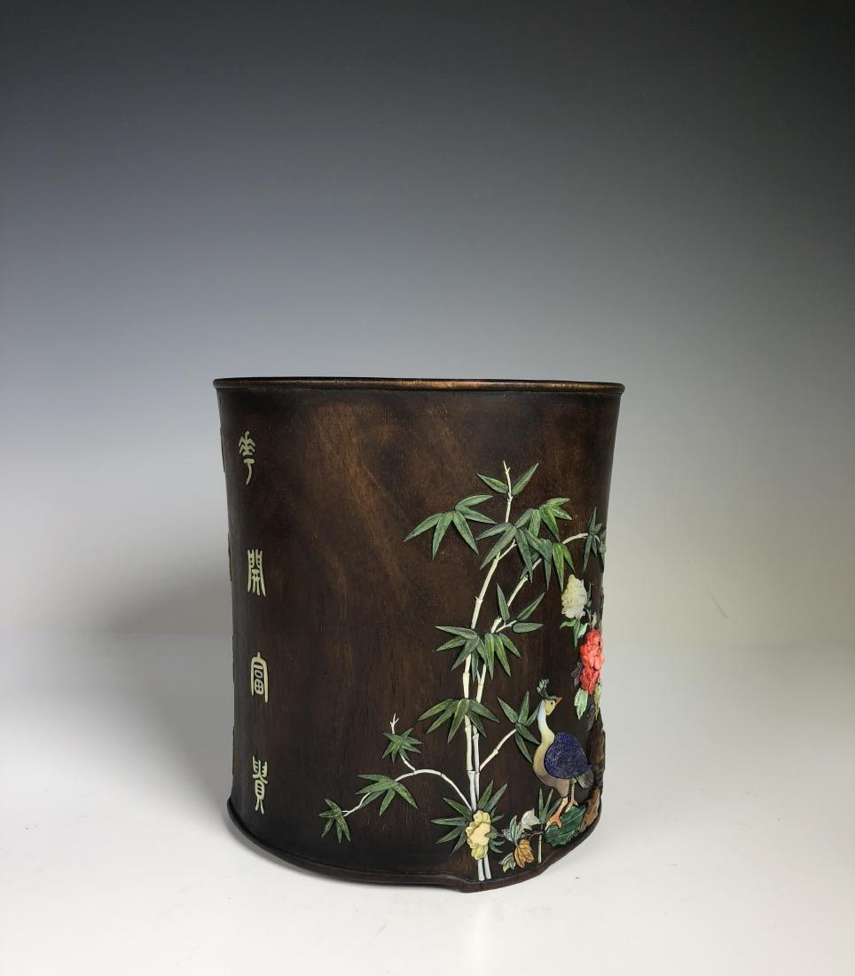 Hard Wood Brush Pot with Stone Inlay - 7